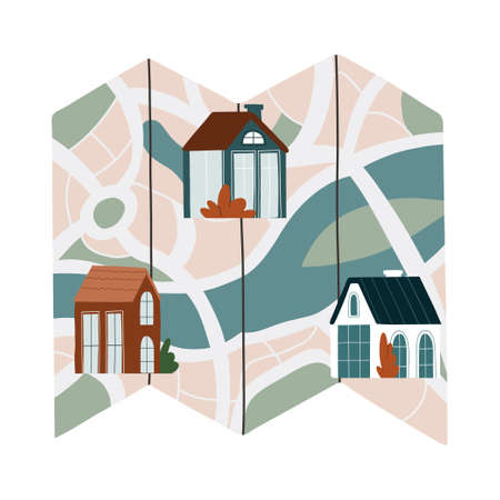 Real estate infographic pointing to the house on the map. The best location. Vector flat illustration isolated on white background Ilustração Vetorial