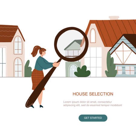 Woman searching a house with big magnifying glass. Property selection concept. Vector flat illustration isolated on white background