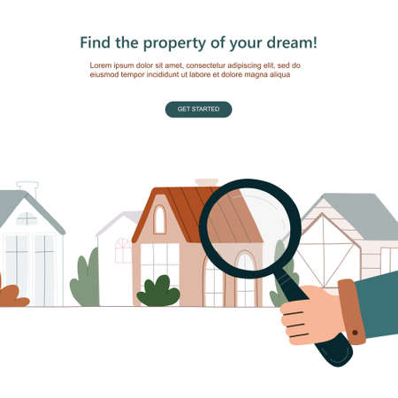 Man's hand searching a house with big magnifying glass. Property selection concept. Vector flat illustration isolated on white background
