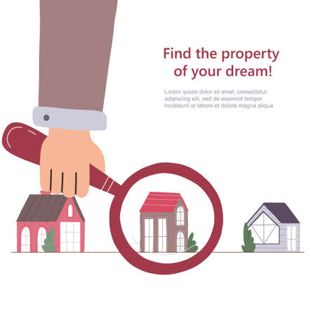 Man's hand searching a house with big magnifying glass. Property selection concept. Vector flat illustration. Web banner template.