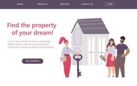 Realtor passing keys to new house to a young couple. Web banner / landing page template. Vector flat illustration