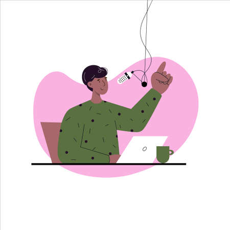 Man speaking into the microphone, recording podcast. Radio broadcast. Vector flat illustration. Podcast concept