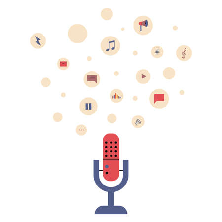 Vector flat illustration of a microphone with podcast recording and listening icons Çizim