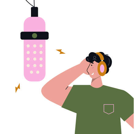 Man with headphones and a big microphone recording audio podcast or online show. Vector flat illustration