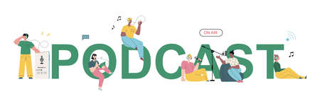 Vector podcast word concept banner. People recording and listening to the podcasts.