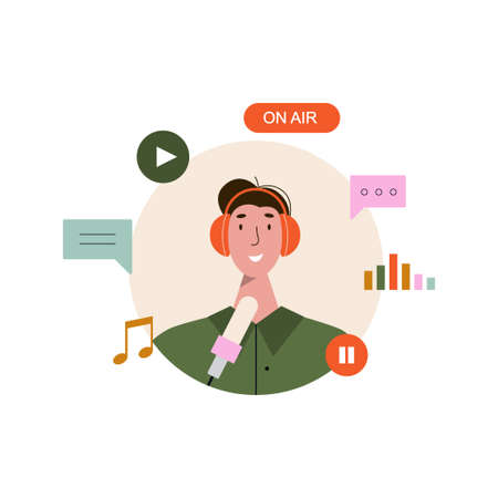 Man listening and recording audio podcast or online show vector flat illustration