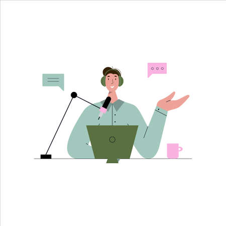 Man talking to microphone recording podcast. radio broadcast, tutorial audio. Vector flat illustration. Podcast concept Çizim