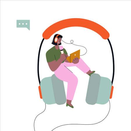 Smiling woman sitting on big headphones and recording audio podcast online. Broadcast, interview, podcast, video recording. Vector flat illustration