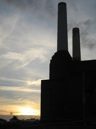 industrial heritage: The end of dirty coal power - Battersea Power station at sunset, in silhouette Stock Photo