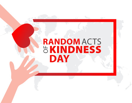 Random acts of kindness day emblem isolated illustration. World altruistic holiday event label.