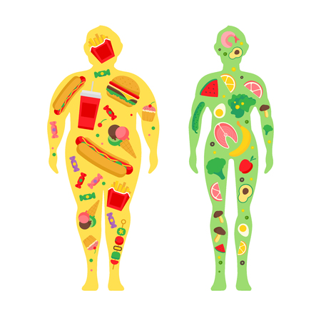 Weight loss concept. The influence of diet on the weight of the person. Before and after diet and fitness. Fat and thin man. Healthy lifestyle, a healthy diet and daily routine. Ilustrace