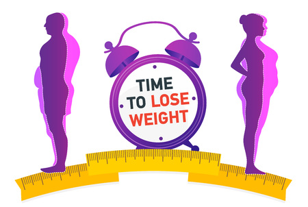 Weight loss. Influence of the person. Before and after diet and fitness. Weight loss concept. Fat and thin man and woman.
