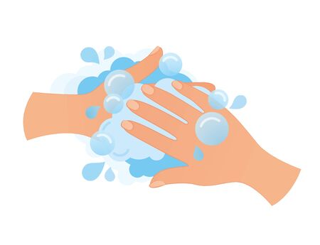 Hygiene. Cleaning Hands. Washing hands with soap Vettoriali