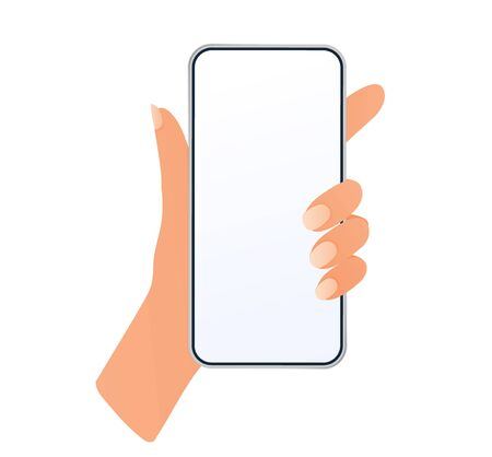 Hand man holding mobile smartphone with blank screen isolated on white background. 일러스트