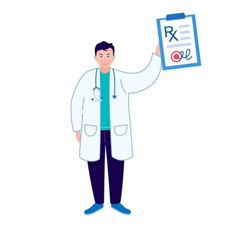 Doctor showing diagnosis and prescribes treatment. RX medical prescription drug.