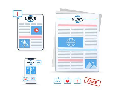 Online news, newspaper, news website. News article. Vector icons.