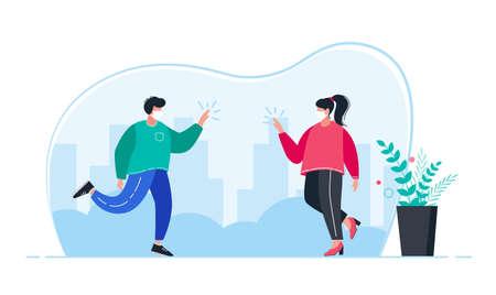 New normal greeting gestures between people. illustration.