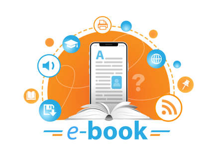 Online education concept. E-book reader and books.