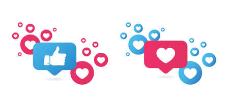 Like and Love icons. Thumbs up and heart, social media icon.