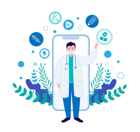 Online doctor concept. Medicine mobile phone app.