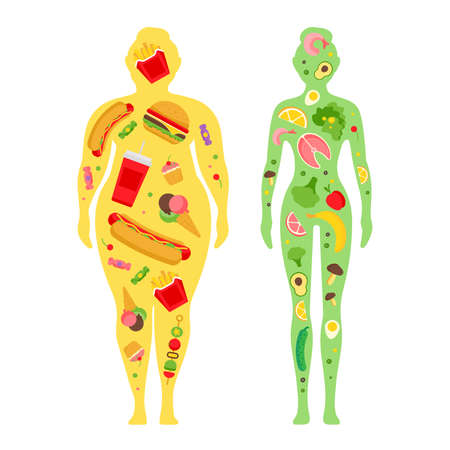 Obesity. Fat and thin woman. Before and after diet and fitness. Healthy lifestyle, a healthy diet and daily routine. Diet.
