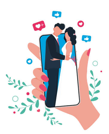 Online wedding ceremony with smartphone. Bride and groom getting married.