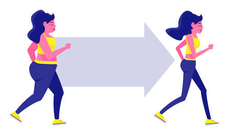 Woman Body Transformation Concept. Running girl is loosing weight. Great results in sports. Vector illustration for gym posters.