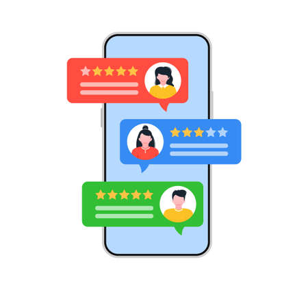 Testimonial concept with speech bubbles. Rating review. 向量圖像