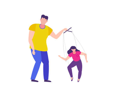 Man manipulates the woman. Domestic violence and manipulation over woman. Isolated vector illustration.
