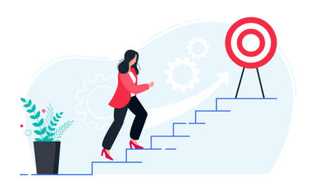 In progress concept. Business woman walking up stairs to their goal. Move up motivation, the path to the targets achievement.