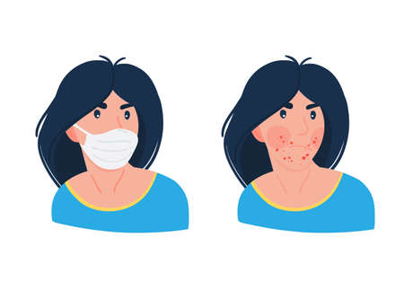 Woman having problems with acne caused by face mask. Face mask and acne maskne. Vecteurs
