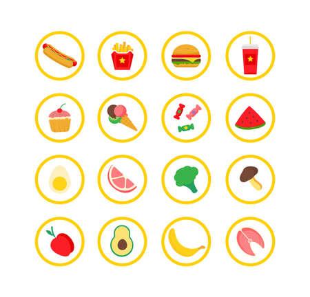 Food icon. Restaurant icons set on white background.