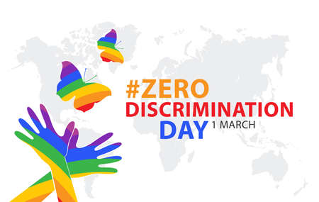 Zero discrimination day. Holiday concept. Template for background, banner, card, poster with text inscription.