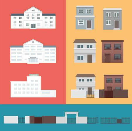 Building and gate shape Illustration