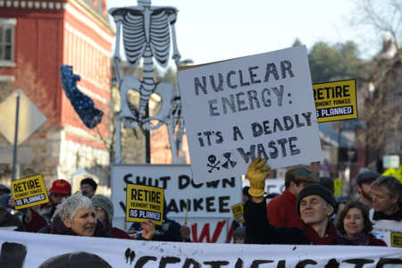 Protest and rally against the Vermont Yankee Nuclear Power Plant held in Montpelier Vermont