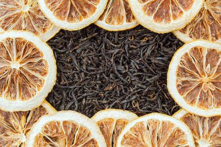 Tea herbs texture. Black tea background. Organic dried black tea leaves.