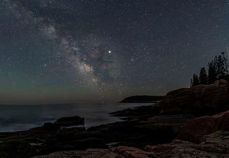 Milky Way over Acadia National Park Фото со стока