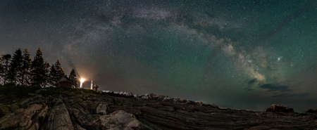 Milky Way over Lighthouse in Maine