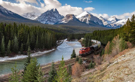 A Train Coming Through the Valley in Banff, Canada