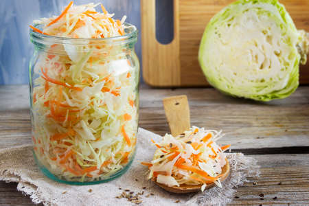 sauerkraut with fennel seeds, selective focus Stock Photo