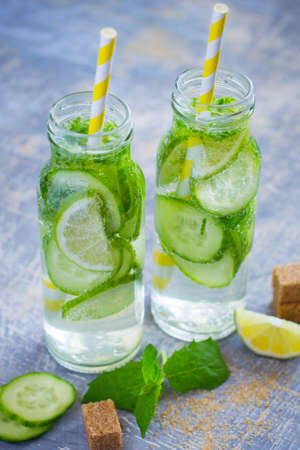 infusing: Lime cucumber lemonade with mint and brown sugar.