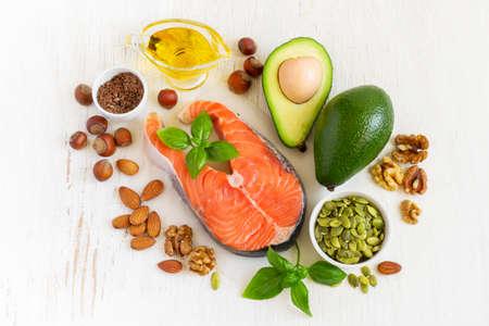上面ビュー、健康的な脂肪オメガ 3 の供給源。