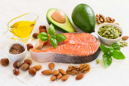 unsaturated: Set of food with high content of healthy fats and omega 3. Stock Photo