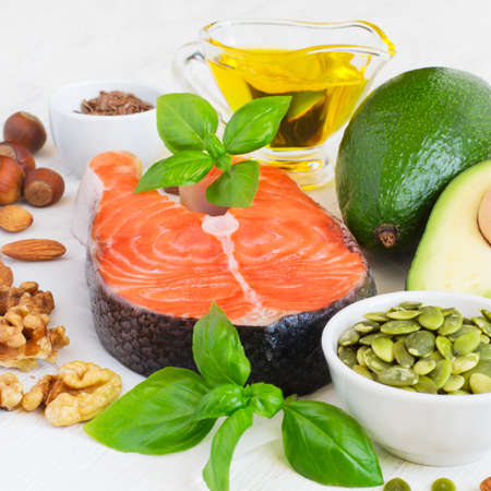 omega 3: Set of food with high content of healthy fats and omega 3. Stock Photo