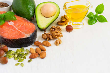 Food sources of omega 3 and healthy fats, copy space.