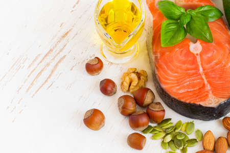 good food: Food sources of omega 3 and healthy fats, copy space. Stock Photo