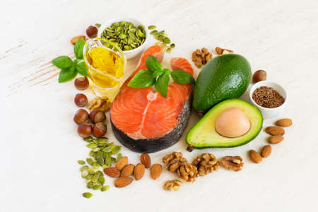 Food sources of omega 3 and healthy fats, healthy heart concept .