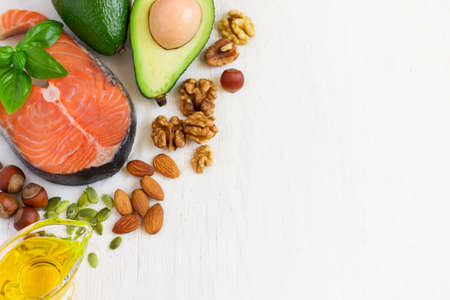 selection Food sources of omega 3 and healthy fats. Top view with copy space Stock Photo