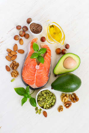 omega 3: Food sources of omega 3 and healthy fats, top view.