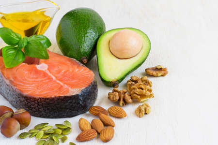 selection Food sources of omega 3 and healthy fats. copy space. Stock Photo